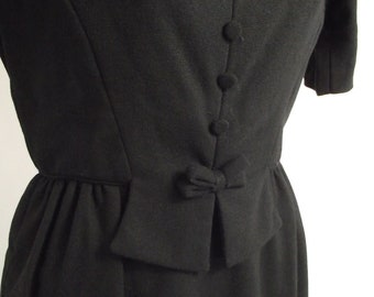 Little Black Dress 1950s Vintage Holiday Wool Dress Petite Extra Small Size 2 with Buttons and Bow on Front
