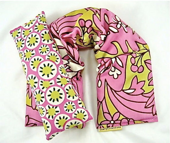 STRESS RELIEF PACKS: Neck wrap, eye pillow, hot cold packs, aromatherapy,lavender oil, herbal heat packs, pink floral