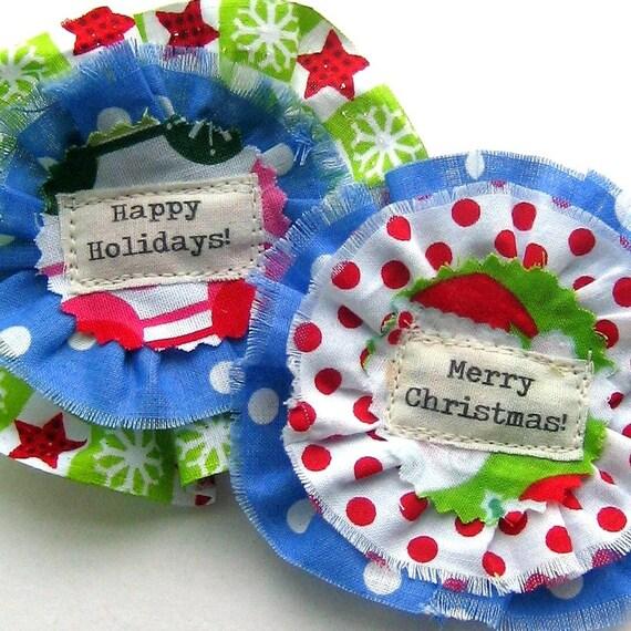Christmas Flower, Ruffled Fabric Flower, Christmas Embellishment, Fabric Flower, Christmas Applique, Holiday Decoration, No. 755