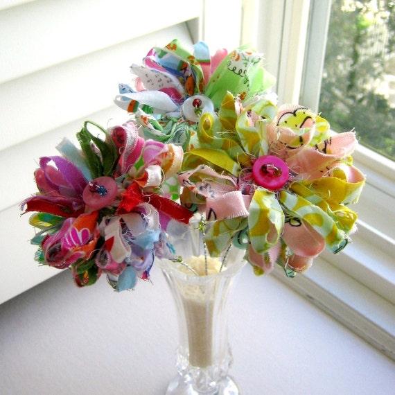 Fabric Bouquet, Fabric  Flowers, Button Flowers, Flower Arrangement,  Bouquet, Home Decor, Flower Stem Centerpiece - No. 74