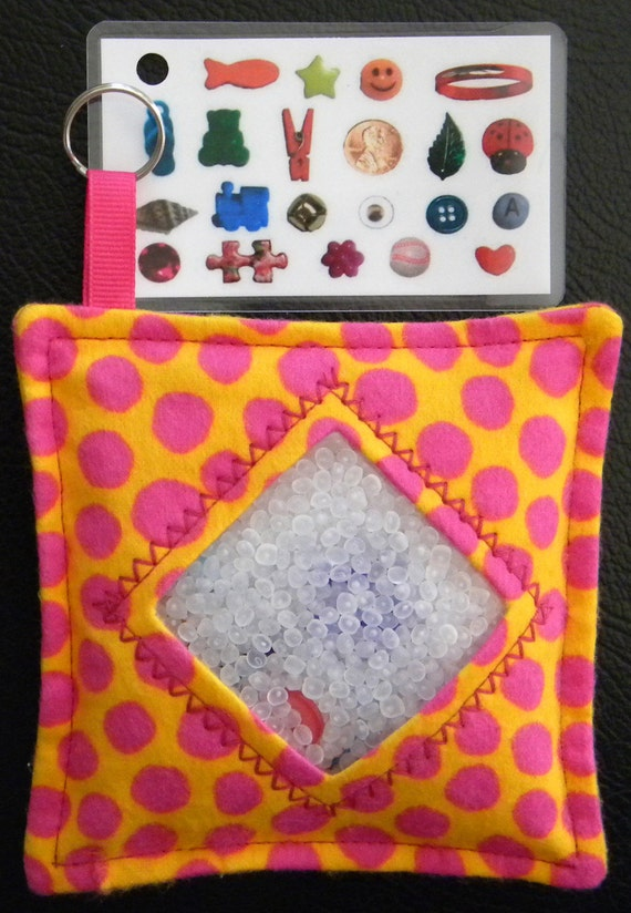 I Spy Bag - Mini with Sewn Word List and Detachable Picture List- Orange with Pink Polka Dots
