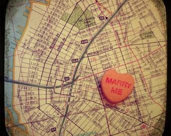 marry me williamsburg brooklyn candy heart art map ttv photo print