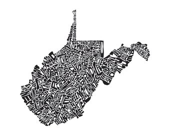 West Virginia - typography map art print 5x7 - customizable personalized state poster custom wall decor engagement wedding housewarming gift
