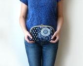 Indigo Clutch Bag - Indigo Blue and White Japanese Fabric Evening Purse with Magenta Pink Lining