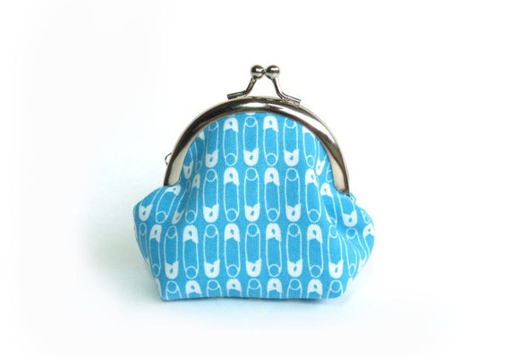 Safety Pin Coin Purse - Turquoise and White Safety Pin Fabric iPhone Earbud Case with Green and White Polka Dot Lining