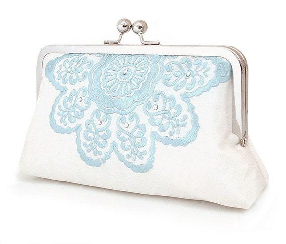Clutch bag, wedding purse, blue and white, bridesmaid gift, MANDALA BELLE