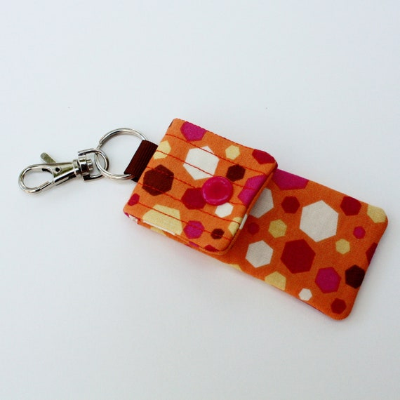Keyring pouch Square pouch USB case geometric print hexagons