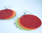 Patterned Red Paper Book Earrings, Paper Moon Earrings in Patterned Red