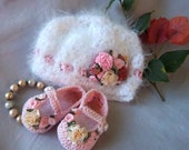 Shabby Chic Luxury- Baby Hat and Booties Set offers Rich, delicious comfort for Baby