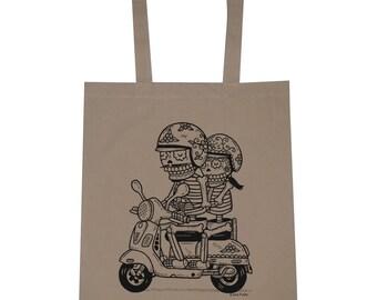 Scooter Calaveras Canvas Shopping Tote Bag