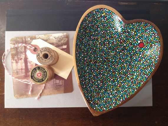 Small Heart Dish : Hand-painted Blue/Green Dots