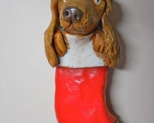 Spaniel Pup in a Red Stocking Christmas Ornament