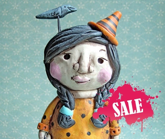 Sale Magdalen the Witch-clay folk art sculpture-READY TO SHIP