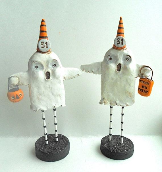 Trick or Treat Halloween Ghost with Treat Bag Original clay folk art sculpture