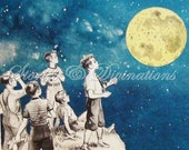 Collage - Full Moon - Boys Bedroom Decor - Boys - Astronomers All - Handmade Collage Block with Star Charts for Your Astronomer's Wall