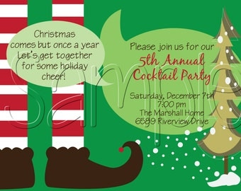 25 5x7 Elf Christmas Holiday Party Invitations
