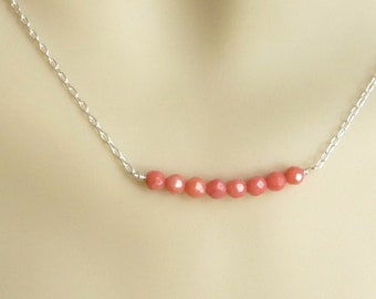 coral  necklace with sterling silver chain, bridal jewelry, coral necklace, beach wedding