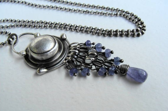 Tanzanite and Reclaimed Silver Oxidized Necklace