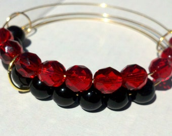 Hot Coals abacus bracelet in ruby and black