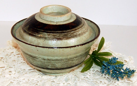SALE Brown Pottery Rice Bowl (FEATURED) Vintage Stoneware Earthtone Ceramic Handmade Collectibles Home Decor Housewares Kitchen Asian