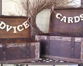 Wedding Card Box and Advice Box with Banners-Rustic Chic-Shabby Chic-White Washed Set of 2