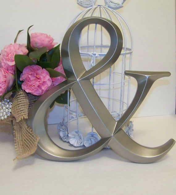 silver ampersand symbol wedding decor by sugarplumcottage