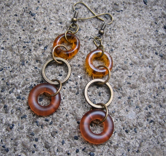 Drops of Honey Dangle Earrings - Recycled Vintage Brass, Glass and Plastic Hoop Beads in Shades of Amber(Eco-Friendly)