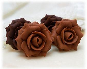 Brown Rose Earrings Stud or Clip On - Brown Rose Jewelry, Brown Flower Earrings