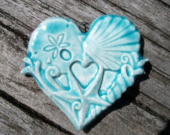 Ceramic Shell Heart Pendant in Translucent Blue