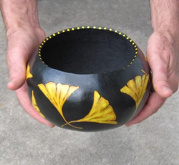 Ginkgo Leaf Gourd Bowl Painted Gourd Autumn Yellow Black