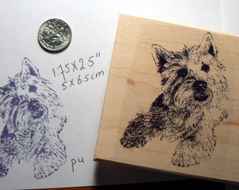 Westy dog, west highland terrier rubber stamp P4