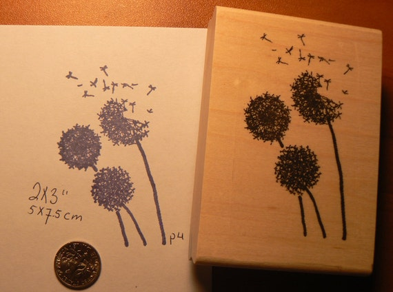 Dandelions flowers rubber stamp WM P4