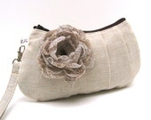 Bridesmaid Pleated Wristlet Clutch Purse - Taupe Brown Fabric Flower Brooch on Natural Sand Beige