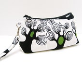 Rectangular Clutch Purse Wristlet Trees in Green Black and White