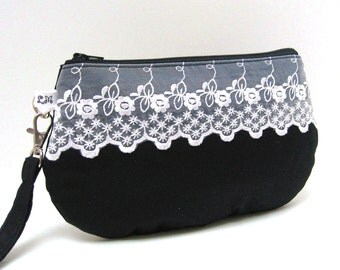 ON SALE Bridal Clutch, Bridesmaid Clutch Purse, Wristlet, White Lace on Black Satin