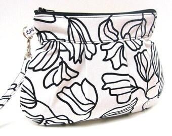 Zipper Clutch Purse Wristlet  Tulips in Black and Cream White