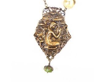 Neo Victorian Necklace - Filigree Wrapped Mermaid Nymph - Green Jade Stone - Steampunk