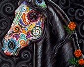 Day of the Dead Horse Art PRINT Sugar Skull Caballo