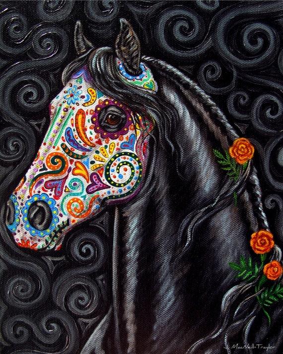 Day of the Dead Horse Art PRINT Sugar Skull Caballo