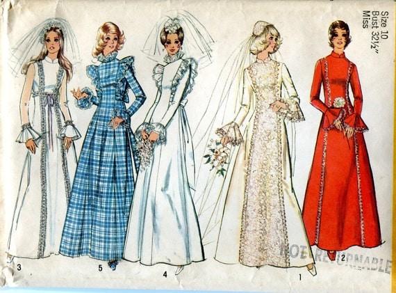 Vintage 1970s Wedding Dress Pattern, Simplicity 5313, Size 10, Bust 32-1/2, Uncut