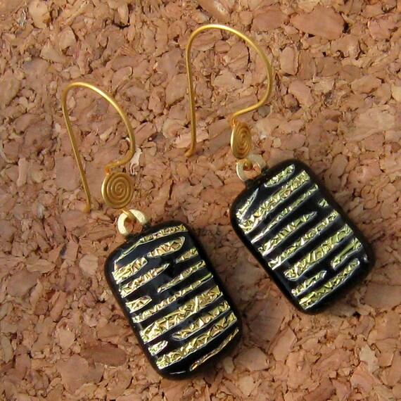 Gold Dichroic Earrings, Fused Dichroic Glass Earrings, Vermeil Earrings,