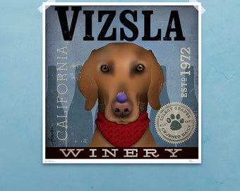Vizsla Winery red dog wine company signed artist's giclee print by stephen fowler