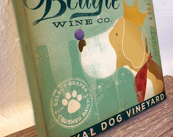 Regal Beagle Wine Company vintage style dog illustration on gallery wrapped canvas by stephen fowler