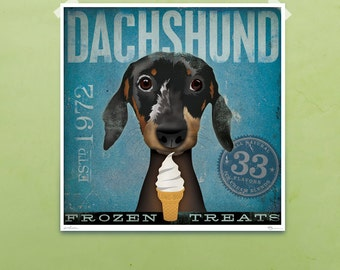 Dachshund Ice cream company graphic art signed artist print by Stephen Fowler