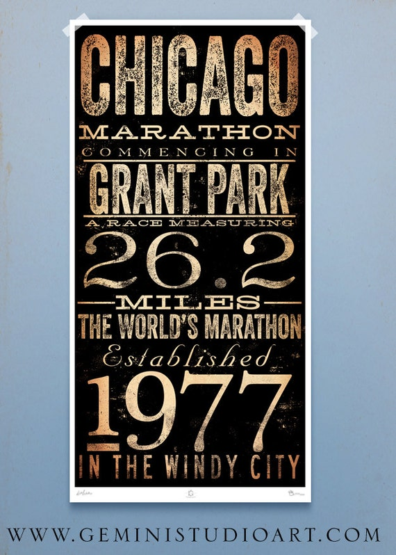Chicago Marathon original typography artwork by stephen fowler signed giclee print Pick A Size