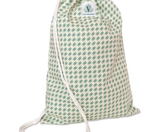 Houndstooth Drawstring Backpack