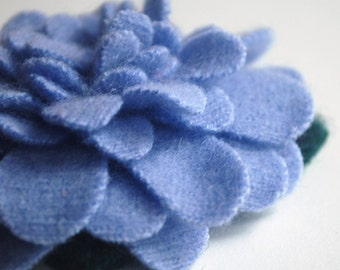 Periwinkle Blue - Recycled Cashmere Flower Brooch