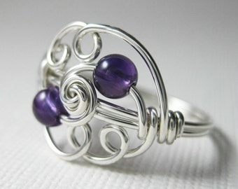 Amethyst and Sterling Silver Wire Wrapped Ring Cloud 9