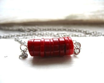 Red Coral Necklace, Red Coral Strand Gemstone Necklace, Artisan Handmade Coral Jewelry, Gemstone Jewelry, Coral Necklace, Coral Jewelry