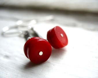 Red Coral Earrings, Red Coral oxidized silver Metalwork Dangle Drop Earrings, Handmade Coral Earrings